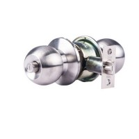 Yale Round Brass Door lock with 3 keys (Standard, Silver Satin)