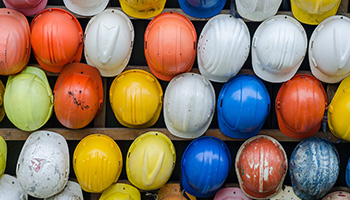 Protective head gear is necessary from falling objects in a construction site