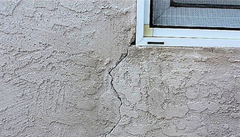 Cracks in the wall indicate a weak foundation