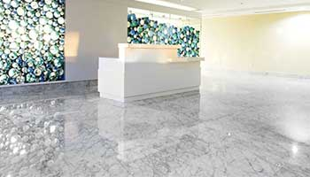 Light creates an illuminating effect when it strikes marble at the right angle