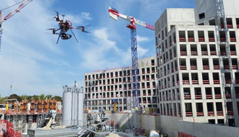 Drones are used for regular inspection of buildings