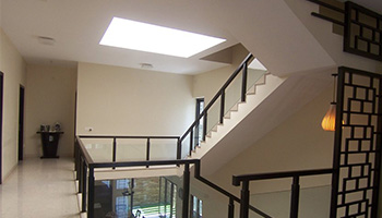 Skylights bring natural lighting into the house