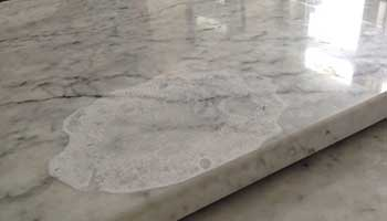 Marble is susceptible to water damage